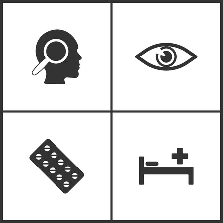 Vector Illustration Set Medical Icons. Elements of Thoughts, Eyes, Pills and Pay bed icon on white background