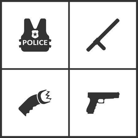 Set of police element concept icon illustration.