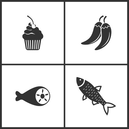 Vector Illustration Set Medical Icons. Elements of Cake, Pepper, Meat and Fish icon on white background