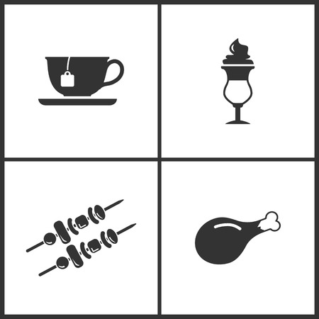 Vector Illustration Set Medical Icons. Elements of Tea cup, Coffe, Kebab and Chicken leg icon on white background