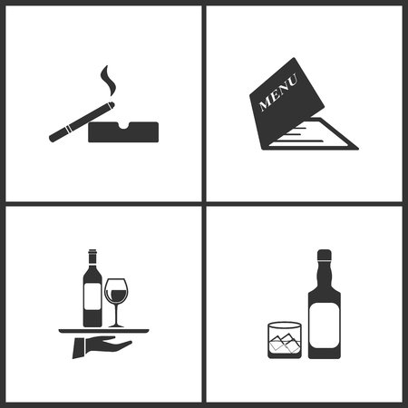 Vector Illustration Set Medical Icons. Elements of Cigarette and ashtray, Menu, Wine on the tray and Whiskey icon on white background Illustration
