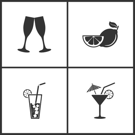 Vector Illustration Set Medical Icons. Elements of Champagne glasse, Fruits lemon, Cocktail and Cocktail icon on white background