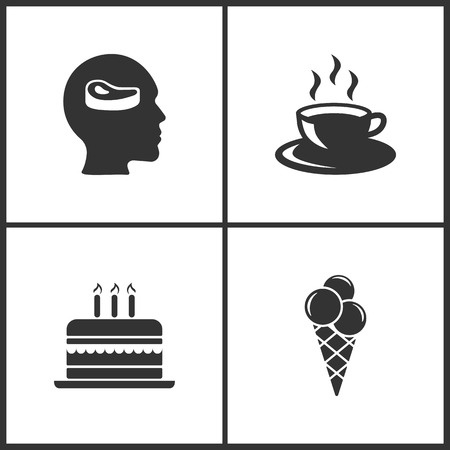 Vector Illustration Set Medical Icons. Elements of Steak, Cup, Cake and Ice cream icon on white background