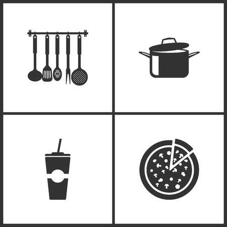 Vector Illustration Set Medical Icons. Elements of Kitchen utensils, Cooking pans, Paper fast food cup and Pizza icon on white background Illustration