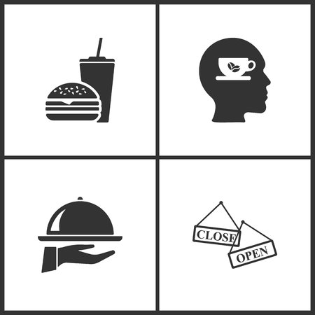 Vector Illustration Set Medical Icons. Elements of Fast Food, Cup of coffee, Tray on the hand and Open Close banner icon on white background