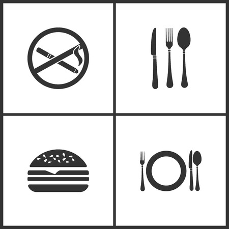 Vector Illustration Set Medical Icons. Elements of No smoking, Fork, Hamburger, fork, knife, spoon and plate icon on white background Illustration