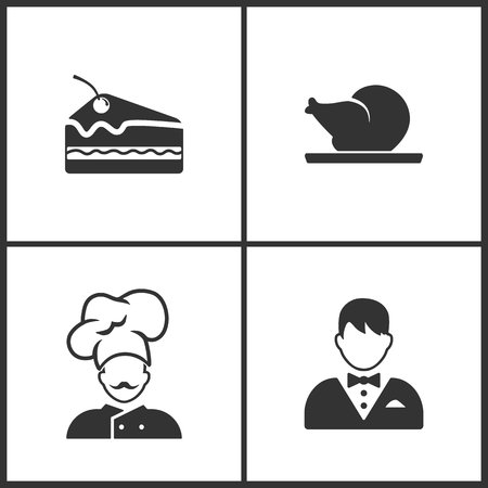 Vector Illustration Set Medical Icons. Elements of Pice of cake, Chicken, Chef and Waiter icon on white background Illustration