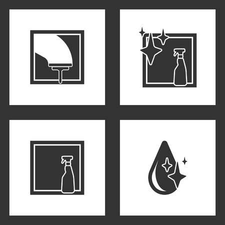 Vector Illustration Set Cleaning Icons. Elements of Glass scraper, spray bottle, window isolated and Drop icon on white background