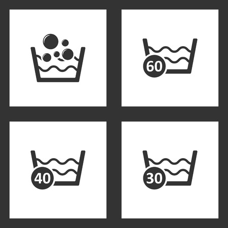 Vector Illustration Set Cleaning Icons. Elements of Basin with soap suds and water, 60 degrees washing laundry, 40 degree water and 30 degree water icon on white background