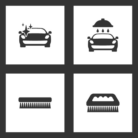 Vector Illustration Set Cleaning Icons. Elements of Clean car with a sparkle, car wash, fetlock and fetlock cleaning brush icon on white background