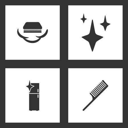 Vector Illustration Set Cleaning Icons. Elements of fetlock cleaning brush, Stars, clean fridge and Comb icon on white background