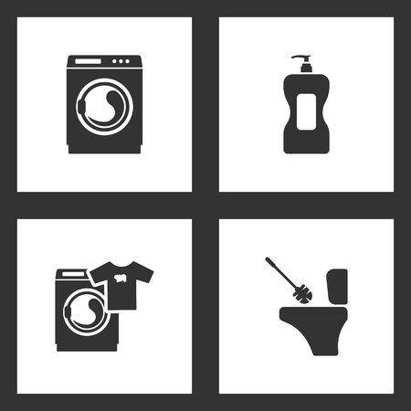 Vector Illustration Set Cleaning Icons. Elements of Household Cleaning Bottle, Washing machine and Toilet brush icon on white background Illustration