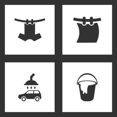 Vector Illustration Set Cleaning Icons. Elements of Laundry on a Rope, car wash and Bucket, a rag icon on white background