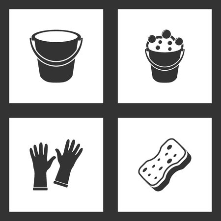 Vector Illustration Set Cleaning Icons. Elements of Bucket, Bucket bubbles, Gloves and Sponge icon on white background Illustration