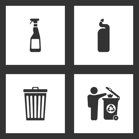 Vector Illustration Set Cleaning Icons. Elements of Cleaning spray bottle, Detergent bottle, trash bin and Man throwing garbage in bin icon on white background