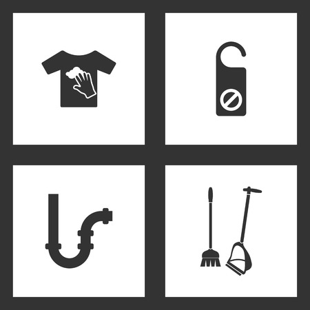 Vector Illustration Set Cleaning Icons. Elements of dirty laundry, do not disturb, Pipes and Broom and dustpan icon on white background Illustration