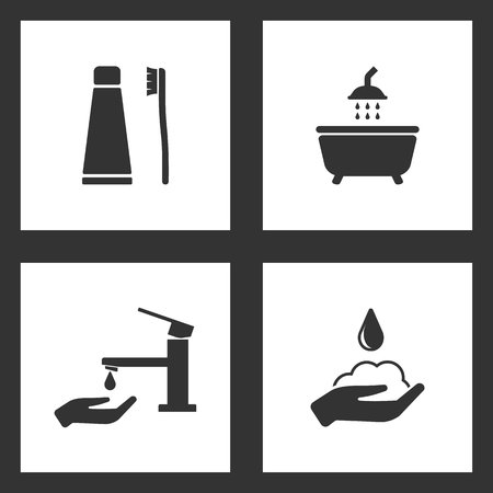 Vector Illustration Set Cleaning Icons. Elements of Toothpaste and toothbrush, The shower, faucet drop and soap icon on white background