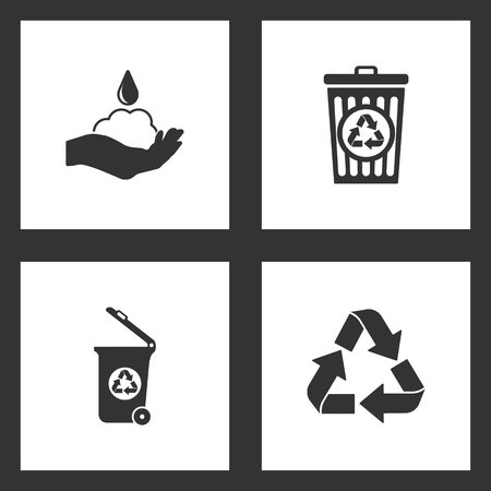Vector Illustration Set Cleaning Icons. Elements of soap, bin recycle, Trash can and Recycle icon on white background