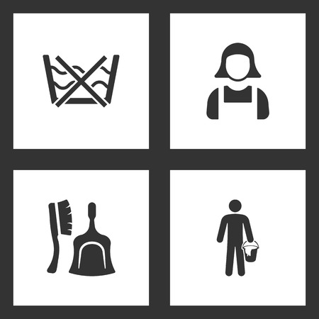 Vector Illustration Set Cleaning Icons. Elements of do not washing care laundry, Maid, Broom and dustpan and Cleaner icon on white background Illustration