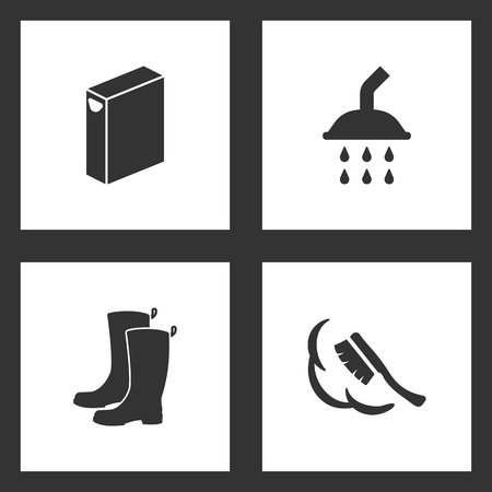 Vector Illustration Set Cleaning Icons. Elements of Washing powder box, Shower, Boots and dustpan and sweeping brush icon on white background Illustration