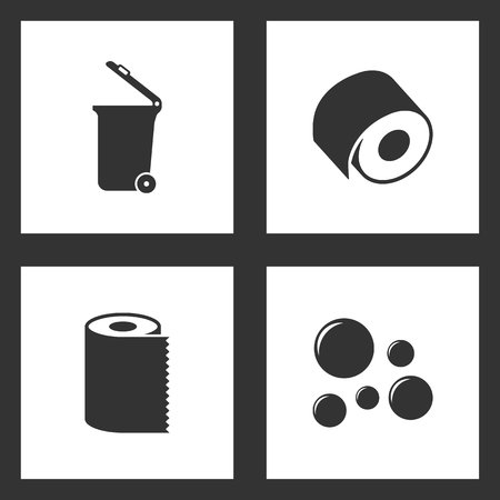 Vector Illustration Set Cleaning Icons. Elements of Trash can, toilet paper, Paper Towel Napkin Roll and Bubble blower icon on white background Illustration