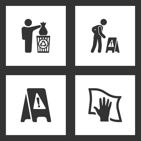 Vector Illustration Set Cleaning Icons. Elements of Man throwing garbage in bin, wet floor and Cleaning with Rag icon on white background