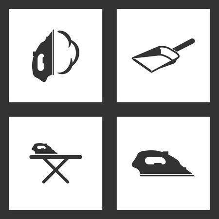 Vector Illustration Set Cleaning Icons. Elements of Iron, Dustpan, ironing table and Iron icon on white background Illustration