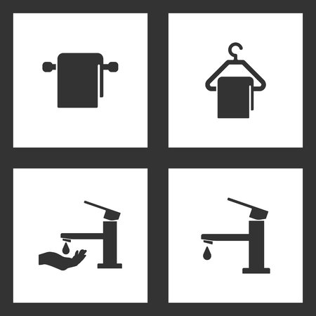 Vector Illustration Set Cleaning Icons. Elements of Towel and hanger, Towel and hanger, Faucet with hand tap symbol and Water tap icon on white background