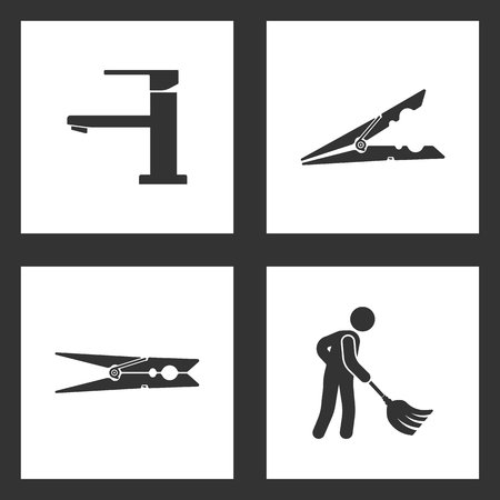 Vector Illustration Set Cleaning Icons. Elements of Water tap, clothes peg and Cleaner Man and Cleaning Tool Equipmen icon on white background Illustration