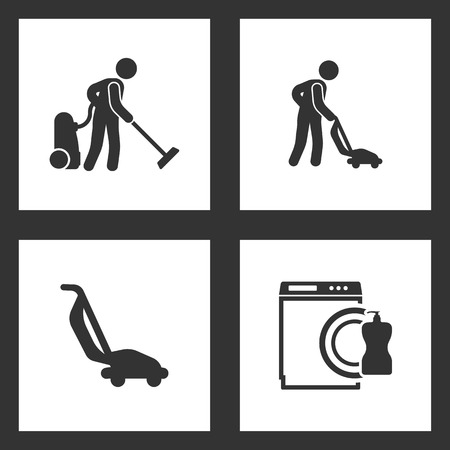 Vector Illustration Set Cleaning Icons. Elements of Cleaner, vacuum cleaner and Dishwasher icon on white background Illustration