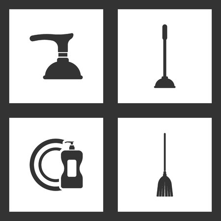 Vector Illustration Set Cleaning Icons. Elements of Toilet Plunger, detergent and dish and Sweeping broom icon on white background Çizim
