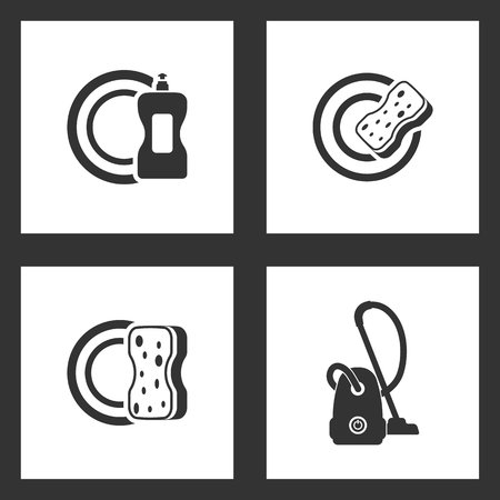 Vector Illustration Set Cleaning Icons. Elements of detergent, dish, sponge cleaning a plate and vacuum cleaner icon on white background