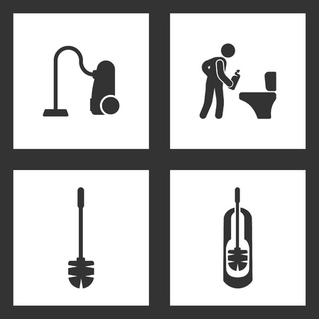 Vector Illustration Set Cleaning Icons. Elements of vacuum cleaner, man toilet cleaner and Toilet brush icon on white background Illustration