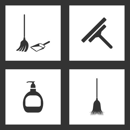 Vector Illustration Set Cleaning Icons. Elements of Broom, dustpan, Glass scraper, Hand cleaning and Sweeping broom icon on white background