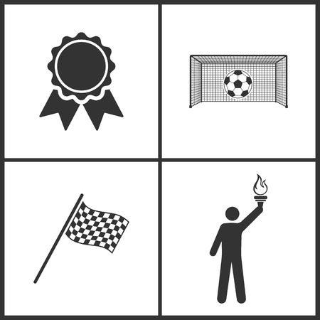 Vector Illustration of Sport Set Icons. Elements of Award, Soccer, Finish Flag and Torch icon on white background
