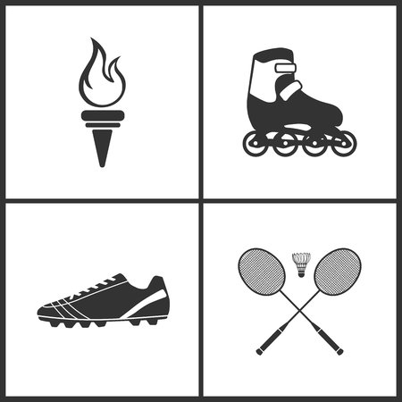 Vector Illustration of Sport Set Icons. Elements of Torch, Roller, Football boots  and Badminton icon on white background