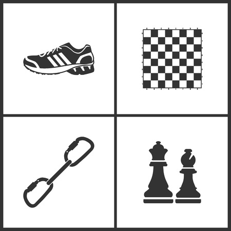 Vector Illustration of Sport Set Icons. Elements of Sneakers, Chess board, Carabiner and Chess icon on white background
