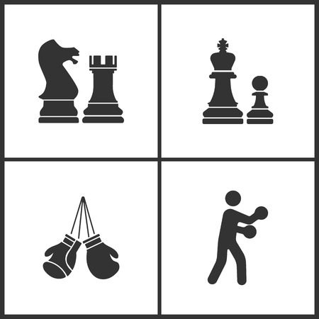 Vector illustration of sport set icons. Elements of chess, boxing gloves and boxing icon on white background. Illustration