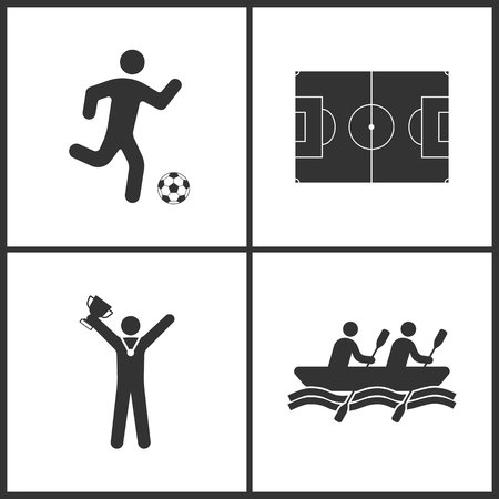 Vector Illustration of Sport Set Icons. Elements of Football players, Football field, Winner with cup and Rowings icon on white background