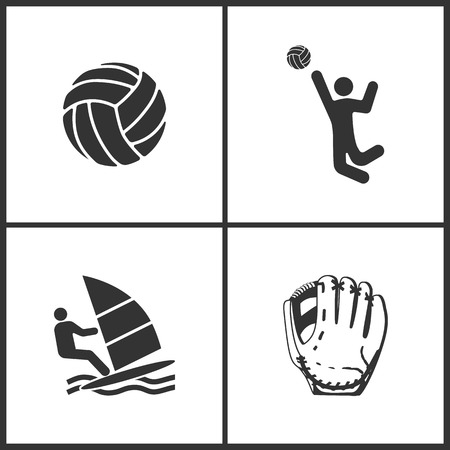 Vector Illustration of Sport Set Icons. Elements of Ball, Volleyball, Windsurfing and Baseball glove  icon on white background Illustration
