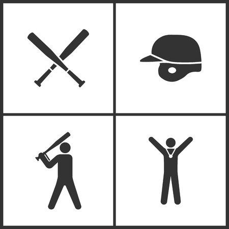 Vector Illustration of Sport Set Icons. Elements of Baseball Crossed Bats, Baseball helmet, Baseball player and Winner icon on white background