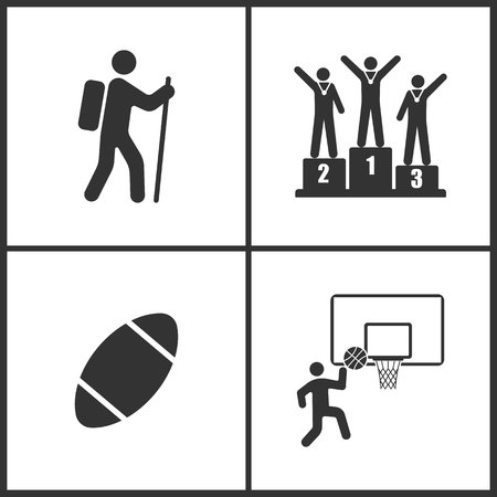 Vector Illustration of Sport Set Icons. Elements of Climber, Champion, Rugby ball, Basketball Basket and ball icon on white background Illustration