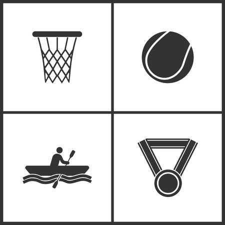 Vector Illustration of Sport Set Icons. Elements of Basketball ring, tennis ball, Rowing and Medal icon on white background