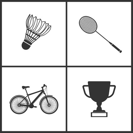 Vector illustration of sport set icons. Elements of badminton, bicycle and award icon on white background.