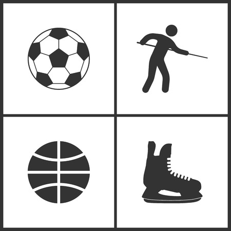 Vector Illustration of Sport Set Icons. Elements of Football ball, Pool Player, Basketball ball and Ice skate icon on white background