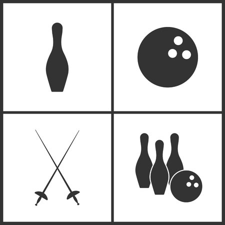 Vector Illustration of Sport Set Icons. Elements of Bowling pin, The bowling, Fencings and Bowling icon on white background