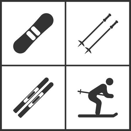 Vector Illustration of Sport Set Icons. Elements of Snowboard, Ski poles, Skis and Ski icon on white background