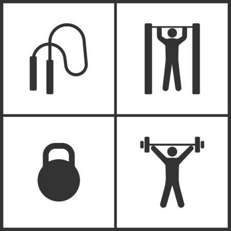 Vector Illustration of Sport Set Icons. Elements of The skipping rope, Horizontal bar and man, Dumbbell and Weightlifter icon on white background Illustration
