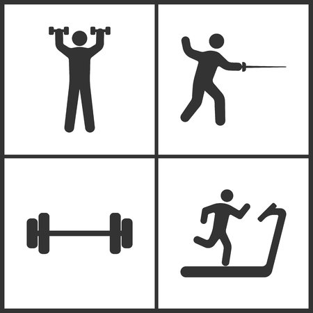 Vector Illustration of Sport Set Icons. Elements of Human with dumbbells, Fencings, Barbell and Treadmill icon on white background