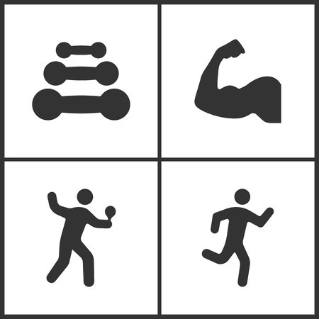 Vector illustration of sport set icons. Elements of dumbbell, muscle arm, table tennis player and running man icon on white background.